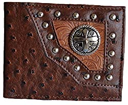 men brown black western ostrich print cross studs bifold small wallet (brown)