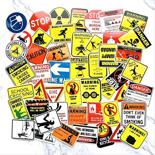 WH MaiYY 50 Personnalité Avertissement Logo Autocollant Valise Planche À Roulettes Réfrigérateur Notebook Avertissement Autocollant Moto Autocollant
