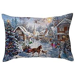 "HUYURI Kissenbezug Frohe Weihnachten Leinen Kissenbezüge Sofa Rechteck Kissenbezug Dekoration 11,8""x 19,7"" Zoll"