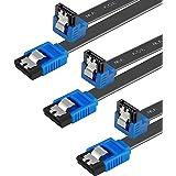 SATA-kabel III, Benfei 3-pack SATA-kabel III 6 Gbps 90 graders rät vinkel med låsspärr 18 tum för SATA HDD, SSD, CD-drivrutin
