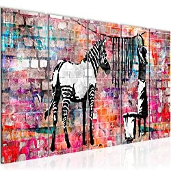 Bilder Banksy Washing Zebra Wandbild 200 x 80 cm Vlies - Leinwand Bild XXL Format Wandbilder Wohnzimmer Wohnung Deko Kunstdrucke Bunt 5 Teilig - MADE IN GERMANY - Fertig zum Aufhängen 012955c