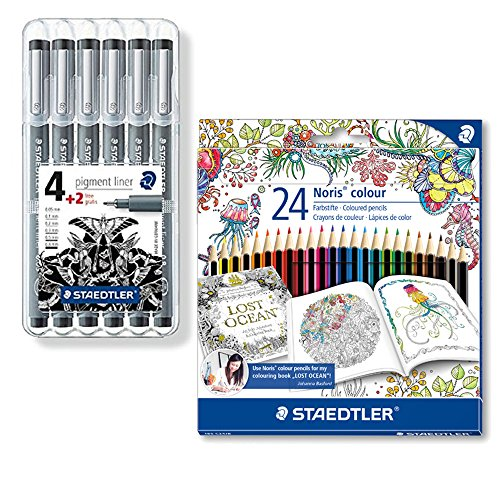 Mandala & Entspannung selbst erstellen: 2-tlg Set - 6 Pigment Liner inkl. 24 Farbstifte Noris Colour...