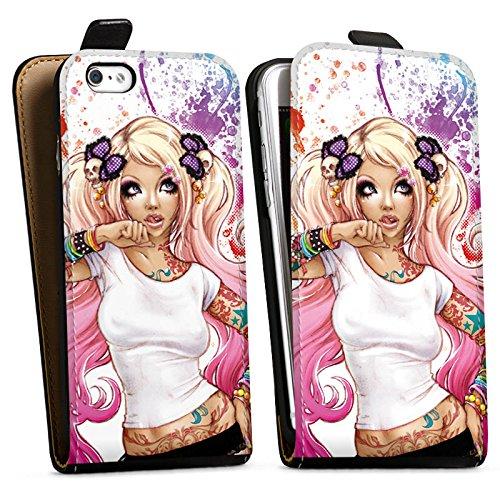 Apple iPhone X Silikon Hülle Case Schutzhülle Mädchen Tattoos Comic Downflip Tasche schwarz