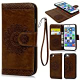 iPhone 7 Case, Wallet Case PU Leather Flip Case Magnetic Detachable TPU Cover Embossed Totem Florals Design Card Slots Cover Wrist Strap Case Phone Case Cover for iPhone 7 (4.7 inch)