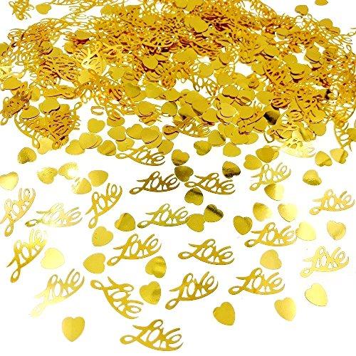 Jzk 4 sacchettini plastica oro coriandoli cuore love cuoricini decorazione tavolo per matrimonio anniversario san valentino addio al nubilato