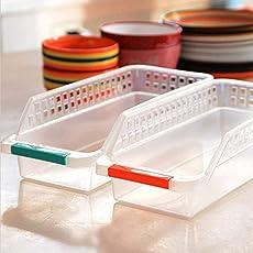 2pcs Rectangle Refrigerator Storage Boxes Accessories Slide Kitchen Fridge Freezer Space Saver Organizer Rack Shelf Holder Drawer Finishing Frame Tools