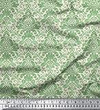 Soimoi Decorativo Floreale dell'album del Damasco Stampa 44 Pollici di Larghezza Sartoria Pura Seta Tessuto a metraggio - Green Light