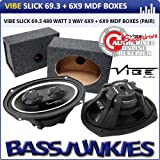 "Vibe Slick 6x9"" 480w 3-Way Car Speakers + MDF 6x9 Speaker Box Enclosure"