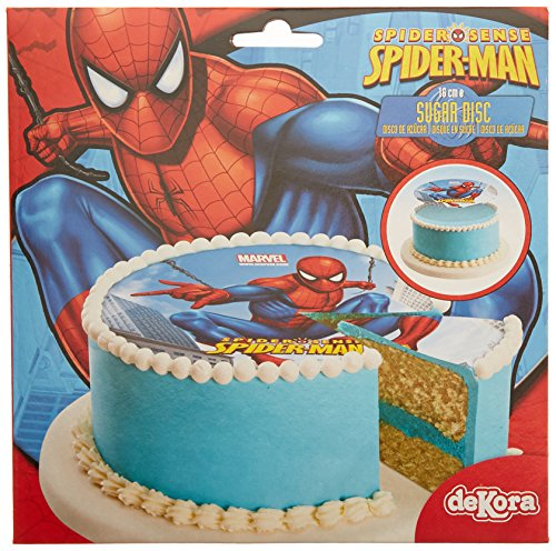 Spiderman Disque en Sucre 16 cm Spiderman sans Gluten sans Colorants Azoïques 15 g