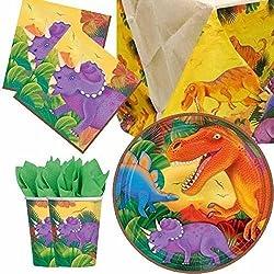 Dinosaurio vajilla para fiesta para 8 personas
