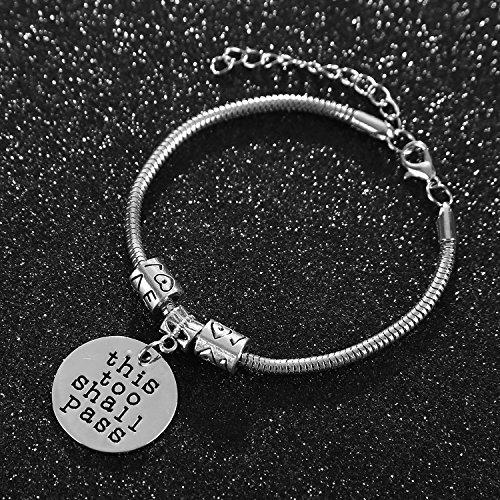 Imagen de pulseras para mujeres y niñas, diseño inspirador con texto en inglés «this too shall pass» alternativa