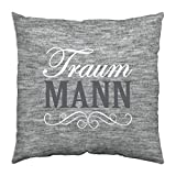 Gruss & Co 44334 Baumwoll-Kissen mit Motiv Traum-Mann, 40 cm x 40 cm, Geschenk-Kissen