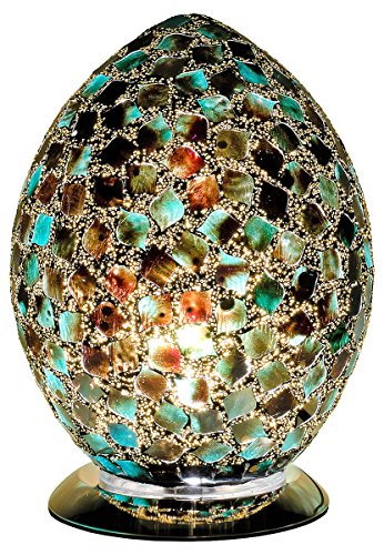 Febland Peacock Green medium Mosaic Egg Lamp, Glass