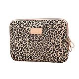 Stile Leopardo Tessuto di Tela Custodia Borsa Involucro Sleeve Case per Netbook/Laptop/Notebook/Computer Portatile/MacBook 13-13.3 Pollici,Marrone