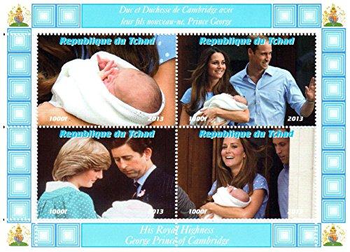 Königliches Baby Briefmarken für Briefmarkensammeln - The Royal Baby-Prince George, Kate Middleton, Prinz William, Prinz Charles und Prinzessin Diana Mini Sondermarken - 4 postfrische Briefmarken auf einer postBriefMarkenBogens - lose (Prinz Charles Diana)