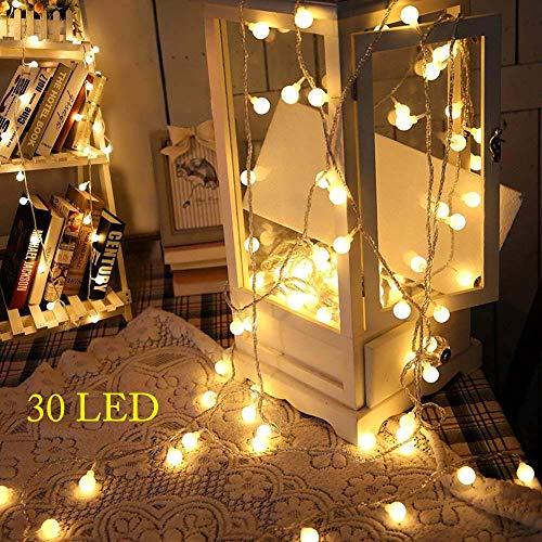 kleine lichterkette, 3M 30 LED Globe Lichterkette,3AA Batteriebetrieben,Kugel String Licht,Dekoration für Weihnachten,Hochzeit,Party,Zuhause sowie Garten,Balkon,Terrasse,Fenster,Treppe,Bar(Warmweiß)