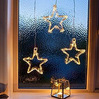 Lights4fun LED Stern Fensterdeko Weihnachtsdeko Timer Batteriebetrieb