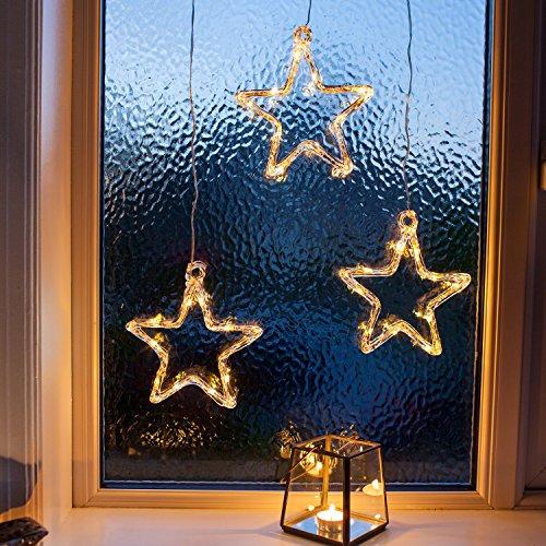 fenster beleuchtung LED Stern Fensterdeko Weihnachtsdeko Timer Batteriebetrieb Lights4fun