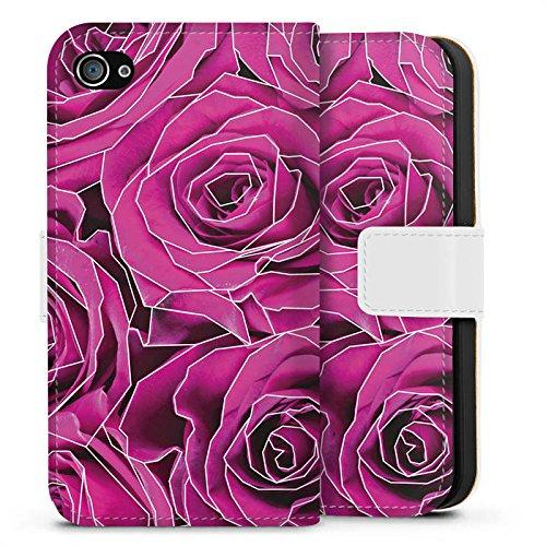 Apple iPhone X Silikon Hülle Case Schutzhülle Roses Pink Grafik Sideflip Tasche weiß