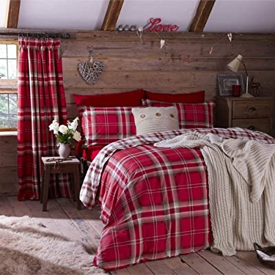 Kelso Red Tartan check Reversible Cotton Rich Duvet Set Luxury Bedding Set Double Bed Size Red - low-cost UK light shop.