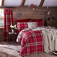 Kelso Red Tartan check Reversible Cotton Rich Duvet Set Luxury Bedding Set Double Bed Size Red by Linenstowels2011