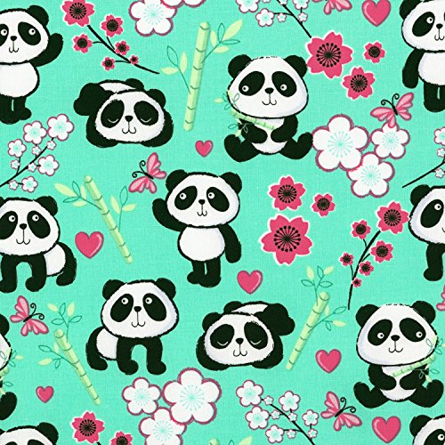 pandas Tissu – Panda Aqua – Tt133 – par 0.5 metre – par Timeless Treasures – 100% coton