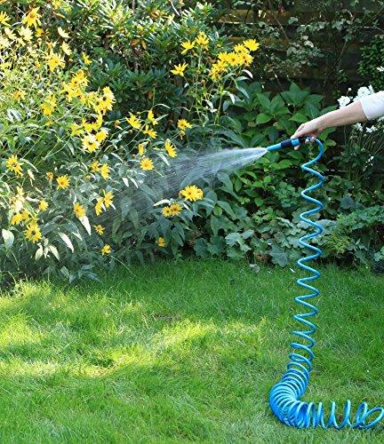 1PLUS Premium Spiral-Gartenschlauch 10 m & regulierbarer Wassersprühkopf & umfangreiches Zubehör-Set,in verschiedenen Farben (Blau)