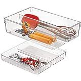 mDesign Cubertero doble para cajones de cocina – Bandeja para cubiertos con 4 compartimentos – Ideal para espumaderas, cuchar