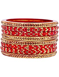 Dulari Stone Embellished Lac Round Ethnic Bangles For Women (Set Of 6 Bangles) Color Available(Stock Clearance...