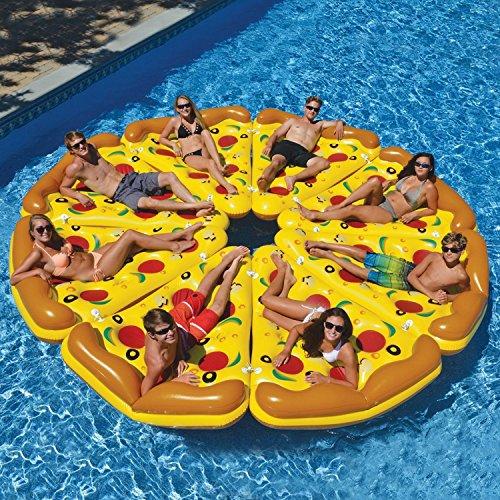 Beach Toy® 8 riesige Luftmatratzen in Pizza-Design, aufblasbar, Größe XXL: 180x 130cm, für lustige Pool-Partys