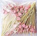 LMing Bastoncini per cocktail 100 con stuzzicadenti in legno per feste forniture per fritture finger food frutta sandwich stuzzichini - cuori rosa
