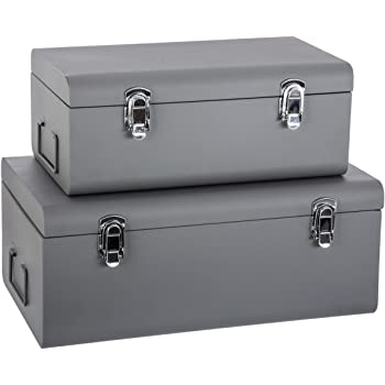 Superbe Atmosphera Set Of 2 Metal Storage Chests   Trunk Design   Colour GREY