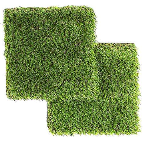 LULIND - 2 Piastrelle Quadrate di Erba Sintetica 31 x 31 cm - Piccolo Tappeto Erboso per Esterni con Sistema di Drenaggio