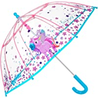 Olele Dome Umbrellas for Kids Boys Girls Windproof Umbrella Half Automatic Women