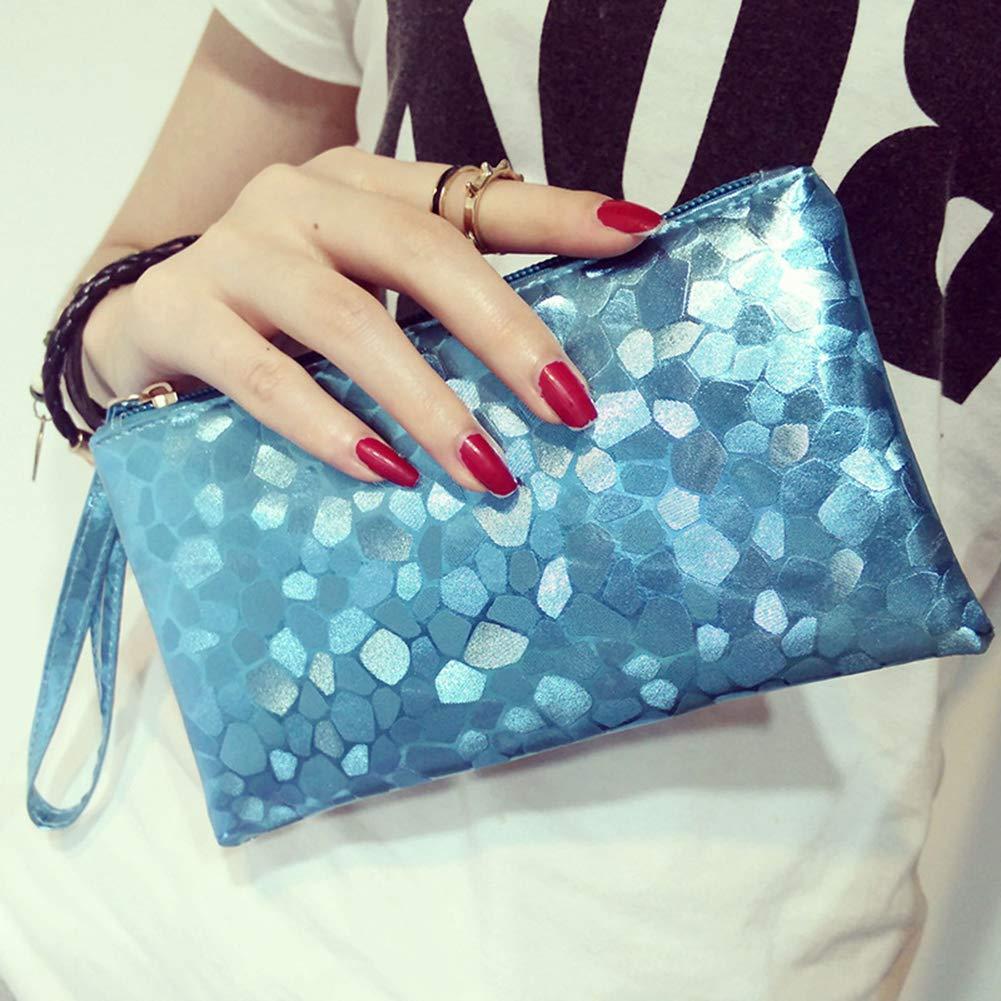 619OAqYivkL - Fansi - Bolso de mano multifunción para mujer, 1 unidad, bolsa de almacenamiento, pu, azul, 19*11*2cm