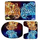 Feamo Cool Motif léopard Tapis de Bain Tapis Ensemble de 3pièces WC Tapis/Contour/pour Couvercle (Speaker)