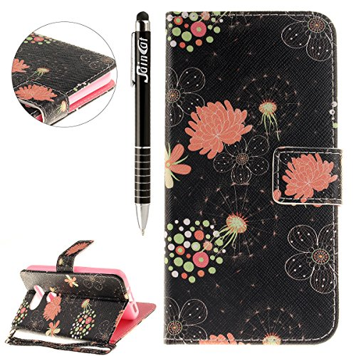SainCat Coque Etui pour LG G5, LG G5 Coque Dragonne Portefeuille PU Cuir Etui, Coque de Protection en Cuir Folio Housse, SainCat PU Leather Case Wallet Flip Protective Cover Protector, Etui de Protect Rétro fleurs