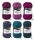 Woll-Set Baumwollgarn Schachenmayr Catania #1 - blackberry, Wollpaket Baumwolle zum Stricken und Häkeln