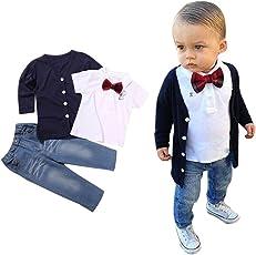 YanHoo 1set bambini Baby Boys manica lunga T-Shirt Top + cappotto + pantaloni vestiti abiti, vestiti del ha fissato gli infantili della maglietta neonata l ragazzo neonata