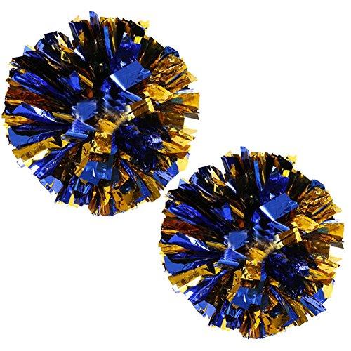 1 Paar Team Sport Cheerleading Poms Match Pom Kunststoff Ring Pompoms Gold + Blau
