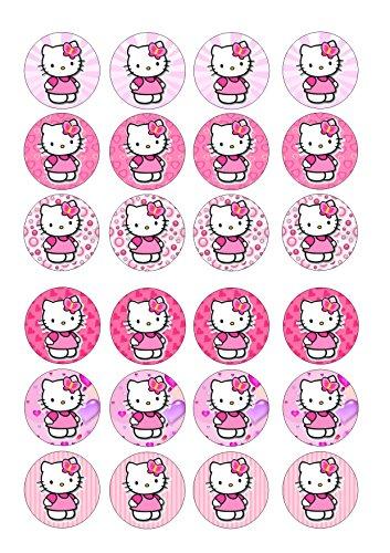 (24Hello Kitty Pink Hintergrund Mixed Bilder, Cake Topper 4cm auf Wafer Reispapier)