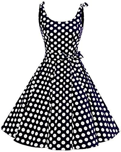 bbonlinedress 1950er Vintage Polka Dots Pinup Retro Rockabilly Kleid Cocktailkleider Blue White Big DotL