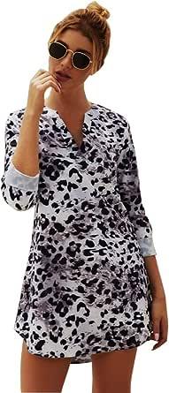 JLTPH Abito da Donna Vestito con Scollo a V Maniche Lunghe in Pelle di Serpente Stampa Leopardata Abito Corto Abiti Senza Cintura Maglietta Asimmetrica Casual Top Camicetta