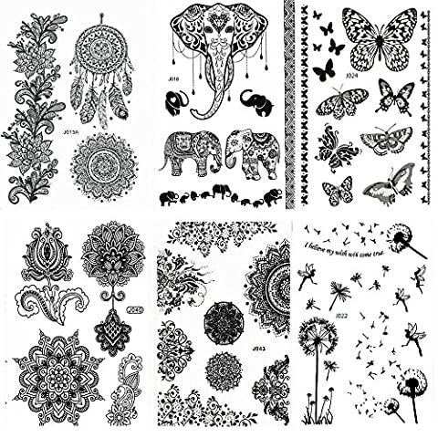 Pinkiou Pack of 6 Sheets Tattoo Stickers Lace Mehndi Temporary Tattoos Fashion Body Art Stickers