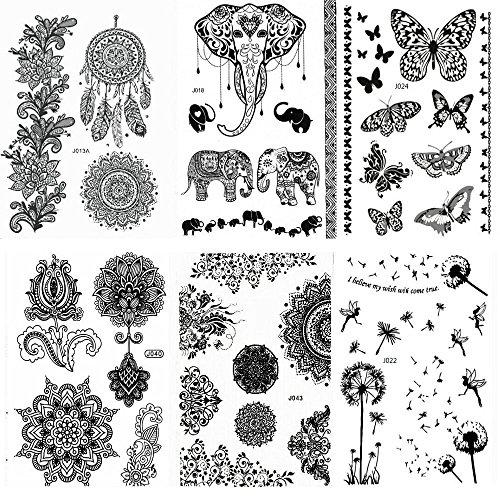 pinkiou-pack-of-6-sheets-tattoo-stickers-lace-mehndi-temporary-tattoos-fashion-body-art-stickers-bla
