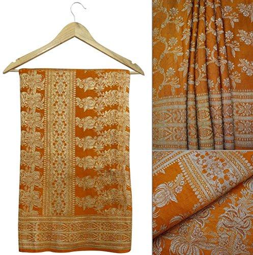 jahrgang-sari-100-reines-gold-zari-banarasi-seide-orange-polsterung-handwerk-stoff