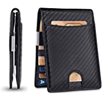 AIWOGEP Portafoglio Uomo Piccolo Sottile Slim Elegante - Blocco RFID - Nero Pelle Alta Qualità - Mini Porta Tessere…
