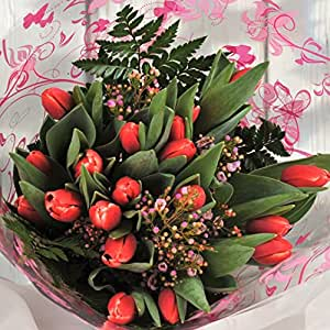 Red Tulip Flowers Delivered – Fresh Flowers with FREE UK Next Day Delivery in a 1hr TimeSlot – Send a Beautiful Florist Arranged Gift Bouquet for Thank You, Birthday, Anniversary