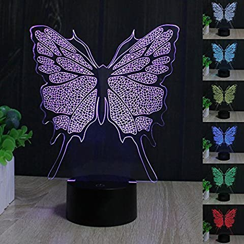 Papillon 3D Lampes Illusions Optiques, FZAI Amazing 7 Changing Colors