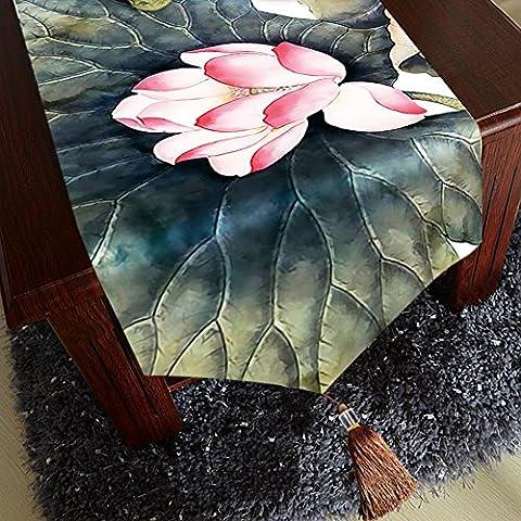 Lotus chemin de table velouté de qualité supérieure–Memorecool Franges Decor toutes saisons sans la lumière 33x 180,3cm 1pièce, lotus14, 13x71inch